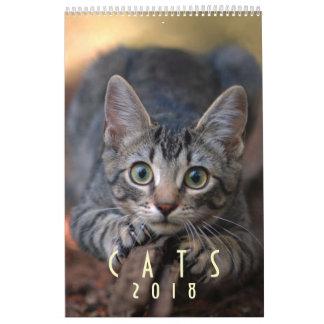 Calendário de parede 2018 do amante do gato