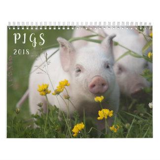 Calendário de parede dos porcos - sorriso em 2018