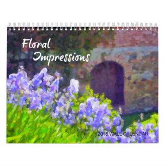 Calendário de parede floral 2018 das impressões