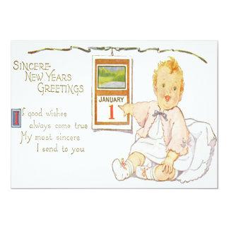 Calendário do ano novo do bebê feliz convite 12.7 x 17.78cm