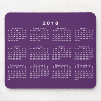 Calendário do branco 2018 em Mousepad roxo feito