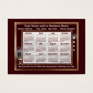 Calendário do cartão de visita de 2017