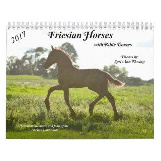 Calendário do cavalo do frisão com versos da