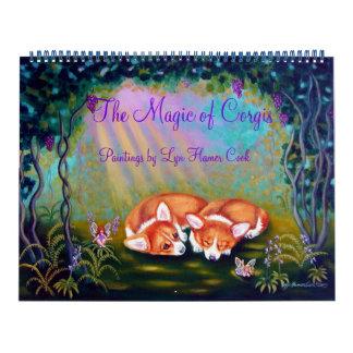 Calendário do Corgi de Galês do Pembroke a mágica
