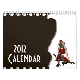 Calendário do macaco 2012 da música de Hurdy Gurdy