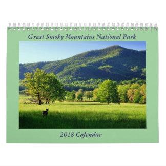 Calendário do parque nacional 2018 de Great Smoky