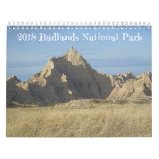 Calendário do parque nacional de 2018 ermos