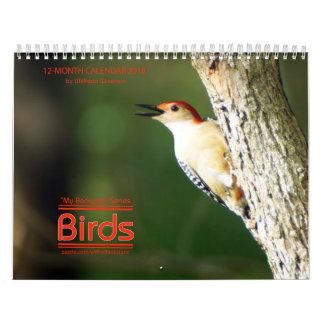 Calendário dos pássaros 2018 do quintal