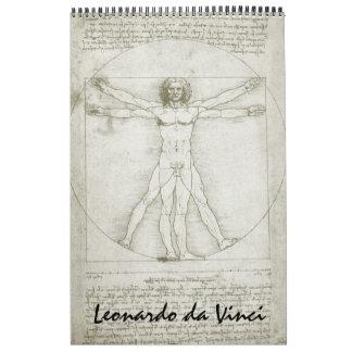 Calendário Esboços e desenhos das belas artes de Leonardo da