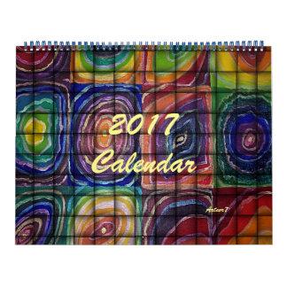 Calendário espirais 2017Calendar quadradas tecidas arte