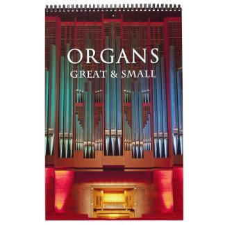 Calendário Excelente dos órgãos e vertical pequeno do