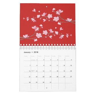 Calendário Flor de cerejeira - vermelho