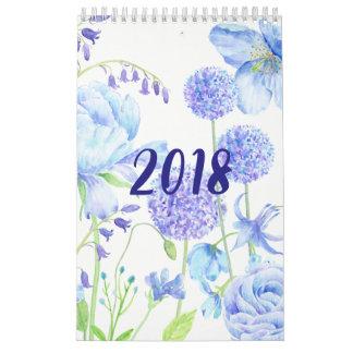 Calendário floral dos jardins da aguarela