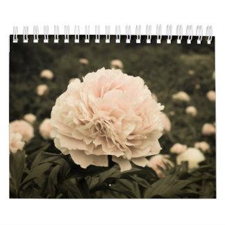 Calendário flores do vintage