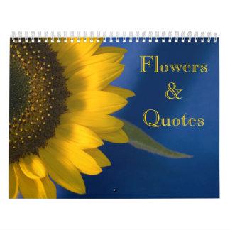 Calendário Flores e citações