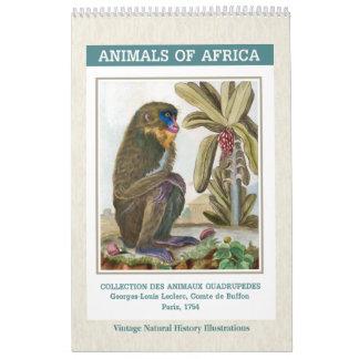 Calendário Ilustrações africanas 2018 dos animais do vintage
