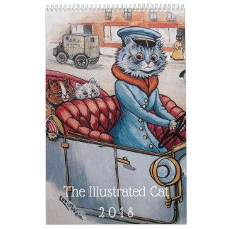 Calendário ilustrado da arte do vintage de 2018