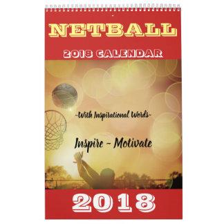 Calendário Imagens e Netball 2018 inspirados das citações