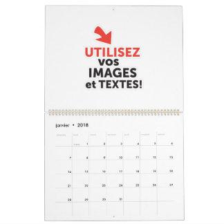Calendário Imprimir as vossas concepções em linha em francês