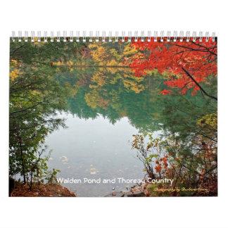 Calendário Lagoa 2018 de Walden e país de Thoreau