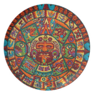 Calendário maia colorido pratos