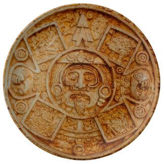 Calendário maia do deus pratos de porcelana