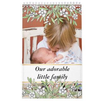 Calendário Mão bonito fotos botânicas tiradas do bebê da