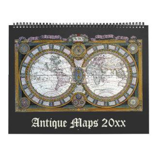 Calendário Mapas do mundo da antiguidade da ilustração do