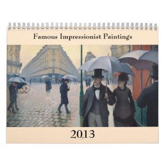 Calendário Mudanças impressionista famosas do ~ das pinturas