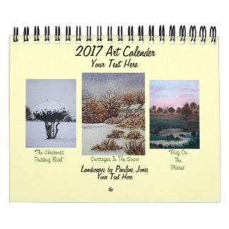 Calendário neve das paisagens e arte sazonal 2017 das