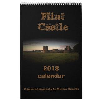 Calendário norte 2018 de Wales do castelo do sílex
