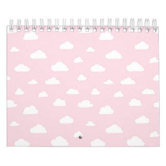 Calendário Nuvens brancas dos desenhos animados no teste