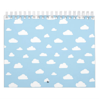 Calendário Os desenhos animados brancos nublam-se na luz -