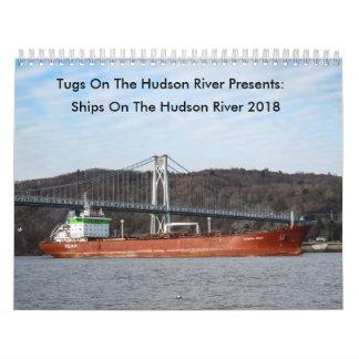 Calendário Os reboquees no Rio Hudson o Rio Hudson enviam