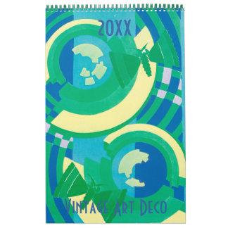 Calendário Padrões de Pochoir do art deco da ilustração do