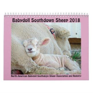 Calendário Southdown de 2018 carneiros da boneca