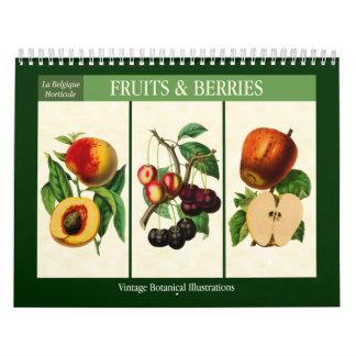 Calendário Vintage 2018 botânico da fruta e das bagas