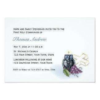 Cálice azul, cruz, convite do comunhão das uvas