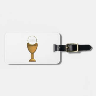 Cálice e anfitrião dourados - comunhão santamente etiqueta para mala
