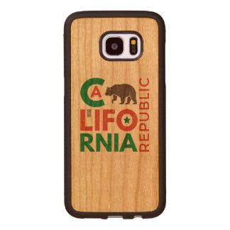 Califórnia com logotipo do urso de urso capa de madeira para samsung galaxy s7 edge