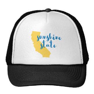 Califórnia sunshine state que diz no roteiro boné