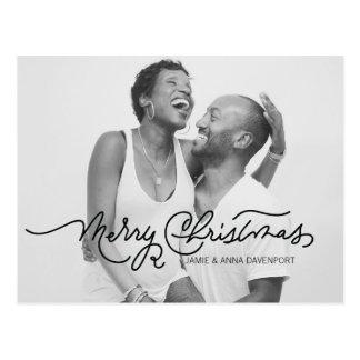 Caligrafia do cartão do preto & do White Christmas