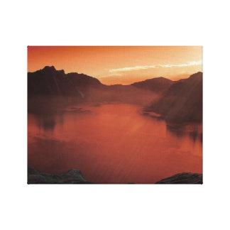Calma na arte vermelha das canvas do lago