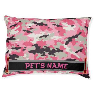 Cama cor-de-rosa personalizada do cão da