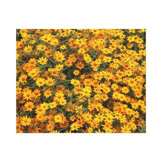 Cama de flor amarela impressão em tela