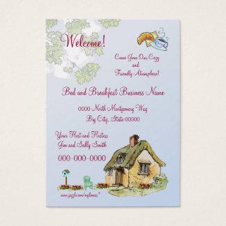 Cama - e - cartão de visita do pequeno almoço
