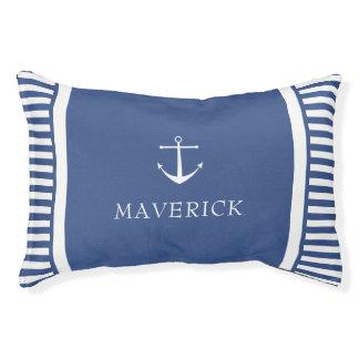 Cama Para Animais De Estimação As listras náuticas - azuis & branco - adicionam o