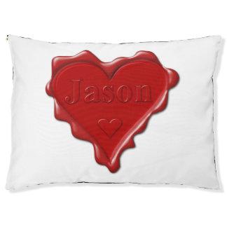 Cama Para Animais De Estimação Jason. Selo vermelho da cera do coração com Jason