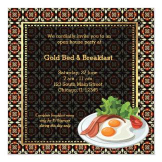 Cama & pequeno almoço da grande inauguração convite quadrado 13.35 x 13.35cm