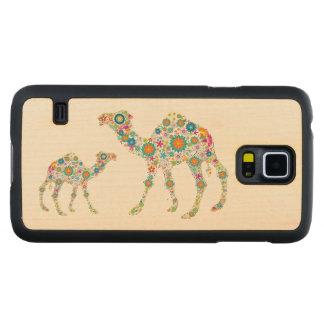Camelo floral bonito colorido & fundo branco capa de bordo para galaxy s5